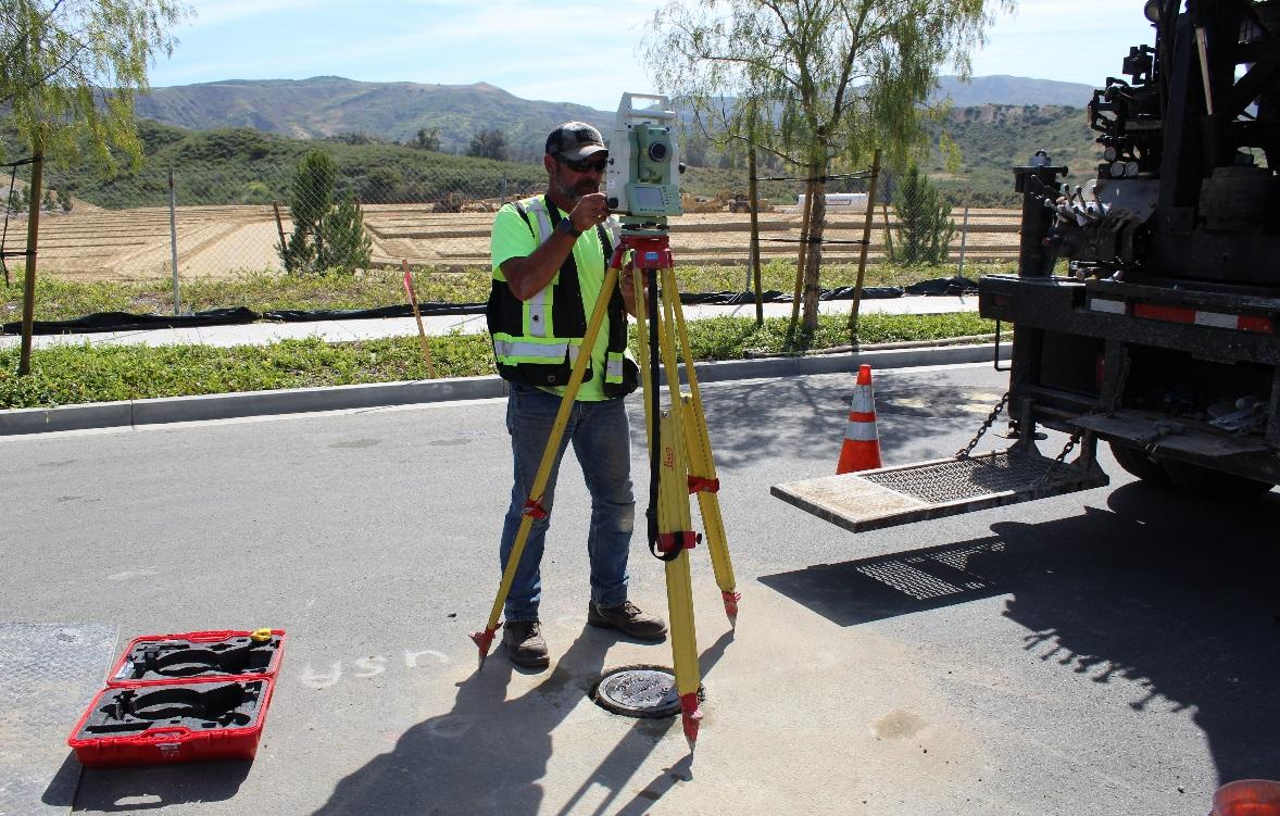 Using the instrument laser to confirm the location of the new monument